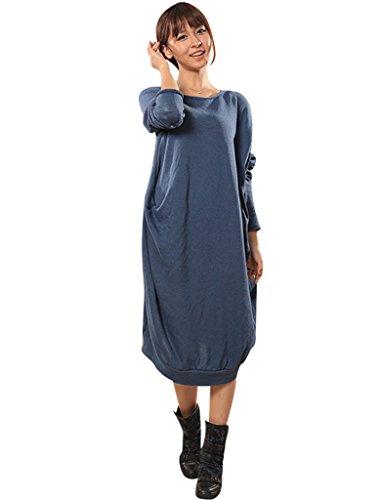 Youlee Damen Flügelhülse Irregulär Pullover Kleid Hellblau
