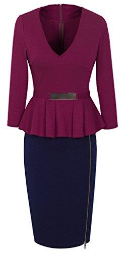 HOMEYEE - Vestito - V dal lato del collo Zipper Peplum matita - Donna B241 Carmine + Blu scuro