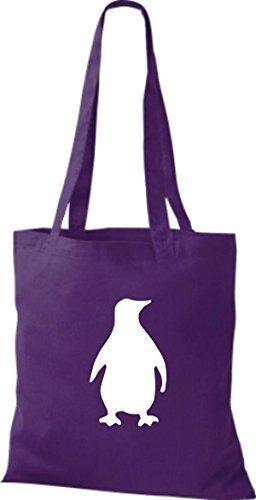 ShirtInStyle Stoffbeutel Pinguin Baumwolltasche Beutel, diverse Farbe Purple