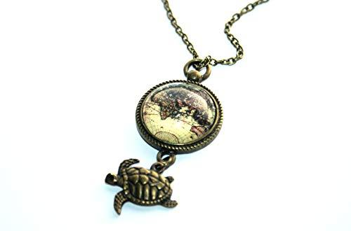 Handmade Weltkarten Globus Schildkröten Kette, 70cm, bronze, süsse handgefertigte Freundschaftskette für die liebste Schwester, beste Freundin und alle Reiselustigen
