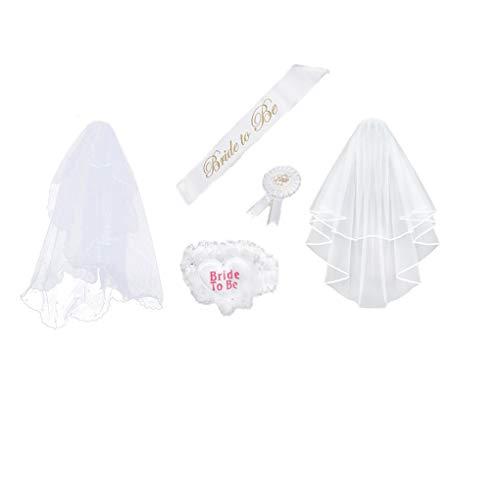 Hotaluyt 4 Stück/Set Braut, zum Weiß Rosette Mantilla Abzeichen Sash Garter Veil Hen Night Party Be -