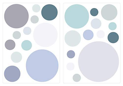 dekodino® Wandtattoo Pastell Punkte in Blau Grau Grün 25 Stück Wandsticker Set -