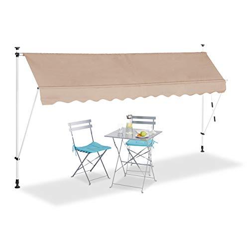 Relaxdays Klemmmarkise, Balkon Sonnenschutz, einziehbar, Fallarm, ohne Bohren, höhenverstellbar, 350 cm breit, beige