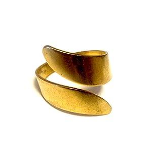 ♥ Gedrehter Handmade Spiral Ring goldfarben, größenverstellbar, 12mm