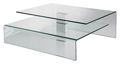 designement Table Basse Verre Transparent 90 x 90 x 33 cm