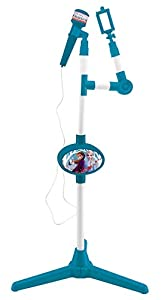 LEXIBOOK Disney Frozen 2 Micrófono con pie Luminoso y Altavoz Integrado, Especial Karaoke S150FZ, Color