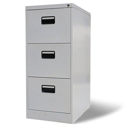 Festnight armadio archivio schedario metallico per ufficio con 3 cassetti grigio