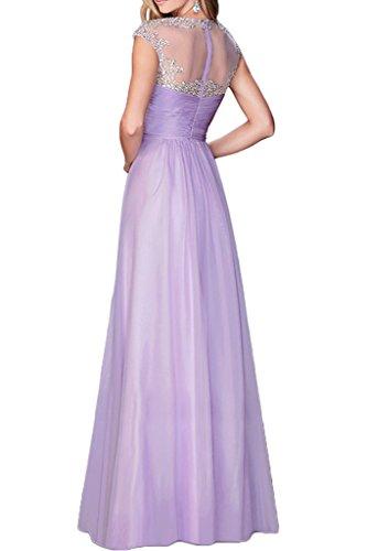 Gorgeous Bride Romantisch Rundkragen Empire Chiffon Tuell Lang Abendkleid Promkleid Abendmode Himmelblau