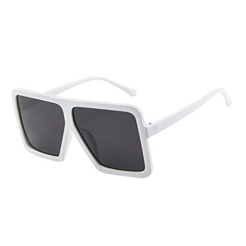 fazry Damen Frauen Unisex Vintage Brille Big Frame Sonnenbrillen Brillen(Weiß)