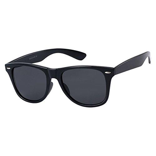 Hutshopping Sonnenbrille Blues Brothers in schwarz glänzend | Damen und Herren | UV-Schutz 400 | Tönungsklasse 3 | Nickelfrei | getönte Gläser 5 cm breit, 4,2 cm hoch | Sommer, Schwarz, Einheitsgröße