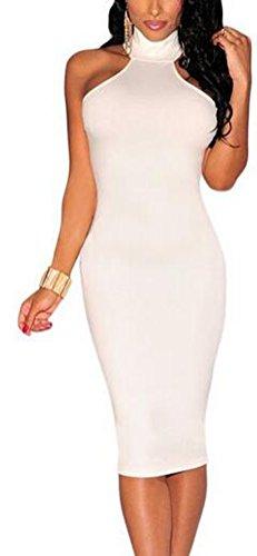 SunIfSnow donna Sexy high-necked Mock collo serratura posteriore vestito White