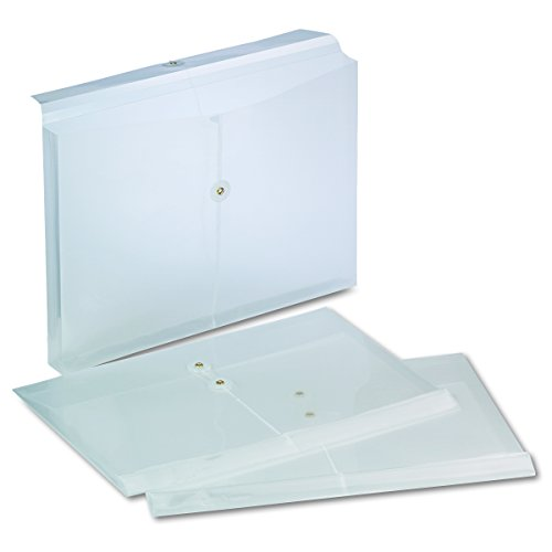Expandable Poly String & Button Booklet Envelope, Clear, Legal