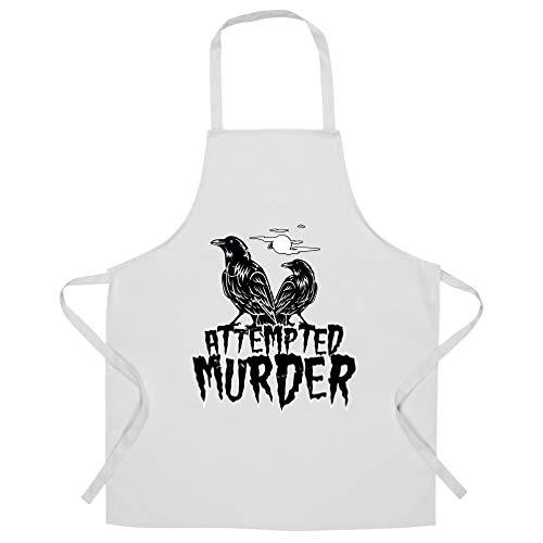 Halloween Schürze des Chefs Mordversuch Crow Pun White One Size