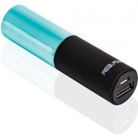 RealPower PB-Lipstick, 2.500mAh Powerbank/Externer Akku/Ladegerät, 1 x Out (USB), Lippenstift-Design, für iphone, Samsung Galaxy und weitere, (Schwarz/Grün)