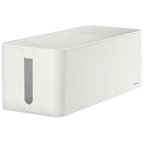 Hama Kabelbox Maxi mit Gummifüßen (40 x 15,5 x 13,8 cm (B x T x H), Kabelmanagement) weiß (Werkzeug Kasten Truhe)
