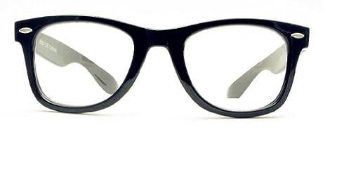 Black Frame Wayfarer, Nerd Glasses, Clear Lens, Fancy Dress Party