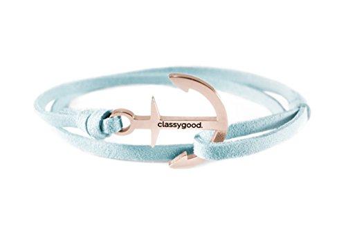 classygood-Bracelet-Classy-Bracelet-Or-Rose-ruban-de-cuir-bleu-clair-pour-hommefemme