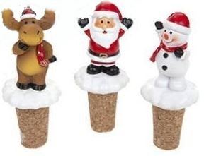 Pack of 3 Assorted Design Polyresin Xmas Wine Stoppers Santa Snowman Reindeer Bottle Cork Party Bar