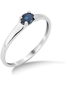 Miore Damen-Ring mit Saphir 9 Karat 375 Weißgold MG9121R