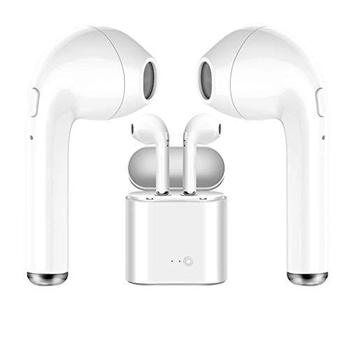 Auriculares inalámbricos Bluetooth Blancos, útiles para quienes practican Deportes, para Escuchar música y Ver películas. Auriculares Bluetooth inalámbricos.con Casas de Carga.