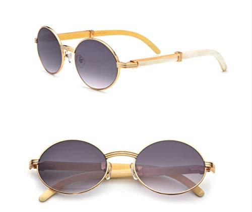 LKVNHP Neue Hochwertige Natürliche Polarisierte Sonnenbrille Uv400 Gläser Für Männer Vintage Sonnenbrille Mit Kasten, Fall Größe: 55-20-145MmGraues Objektiv