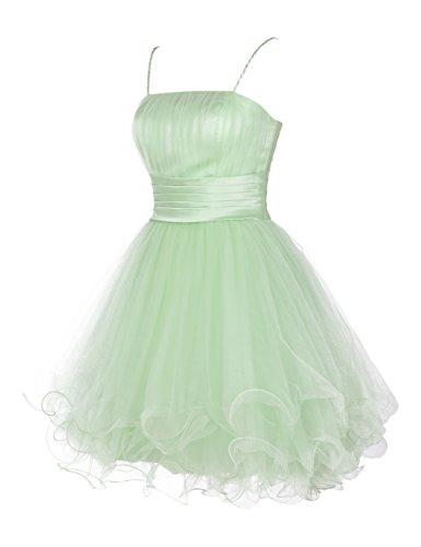 Dresstells, Robe de cocktail Robe de demoiselle d'honneur Robe de bal longueur genou en tulle forme princesse bretelles spaghetti Blush