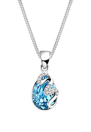 Elli Damen-Halskette mit Anhänger Tropfen Zirkonia silber 925 Swarovski Kristall blau - 45cm Länge