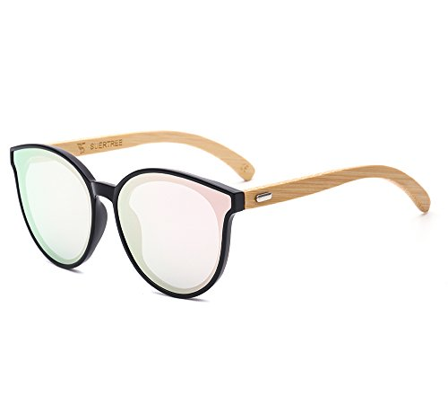 suertree Bamboo Sonnenbrille Cat Eye Schattierungen niedliche Frauen Männer Vintage Retro Sommer Brille JH8003