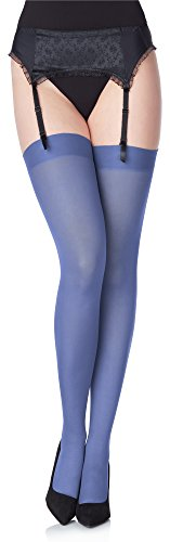 *Merry Style Damen Mikrofaser Strapsstrümpfe MS 799 40 DEN (Jeans, XS/S (32-38))*