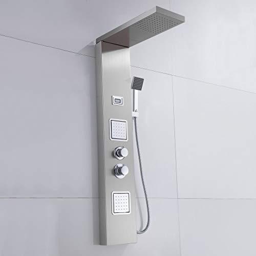 Tatayang Edelstahl Quadrat Duschpaneel mit Thermostat, Wandhalterung Duschsäule Brausepaneel Wasserfall Dusche, Regendusche Duschset mit Handbrause und Digitalanzeige(Silber 4)