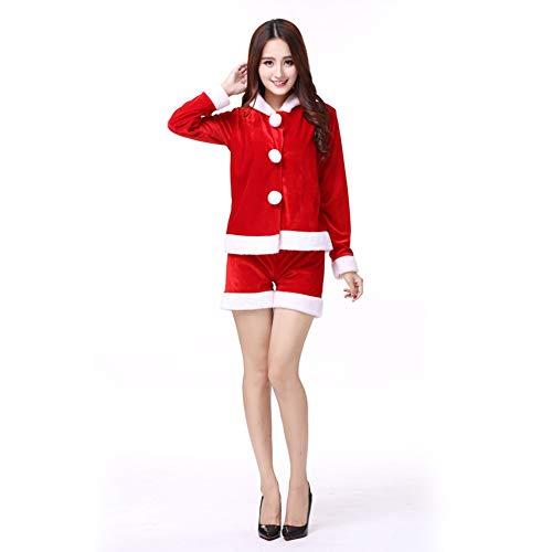 CVCCV Weihnachtskostüm Erwachsene Frauen Sexy Cute Weihnachtskostüm Cos Ball Ds Kostüm Roter Baumwollstoff (Sexy Cute Kostüm)