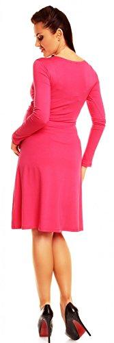 Zeta Ville - Damen - Umstandskleid Langarm - Cocktailkleid für Schwangere - 890c Fuchsie