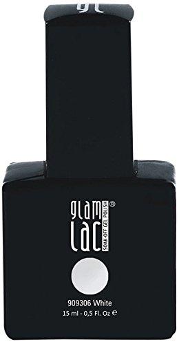 GlamLac Vernis à Ongles Gel UV Semi-permanent White 15 ml