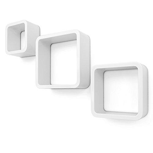 Songmics lws104 set di 3 mensole a cubo da parete stile retró, mdf, bianco, carico massimo 15 kg