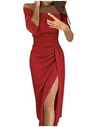 508fe8b7e85c0 Langarm Kleider feiXIANG Einfarbig Kleid Swing Kleider Vintage Beiläufiges  Abendkleider elegant Partykleider