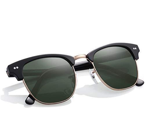Carfia Vintage Sonnenbrille Club Stil Sonnenbrille für Damen und Herren, 100% UVA&UVB Schutz, Linsen aus Glas
