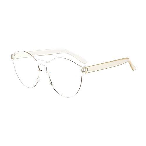 WooCo Schlussverkauf! Randlose Retro Sonnenbrille für Damen und Herren, Brillen Brillen Brillen Klarglas Candy Farbe Brille (B,One size)