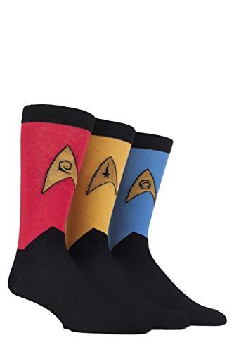 Film & TV Herren 3 Paar SockShop Star Trek Uniformen Baumwollsocken - Sortiert 40-45