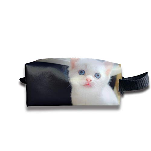 Makeup Kosmetiktasche Cute White Cat Baby Zip Travel Portable Storage Pouch for Mens Womens Designer Makeup Bag White Suede Oxford