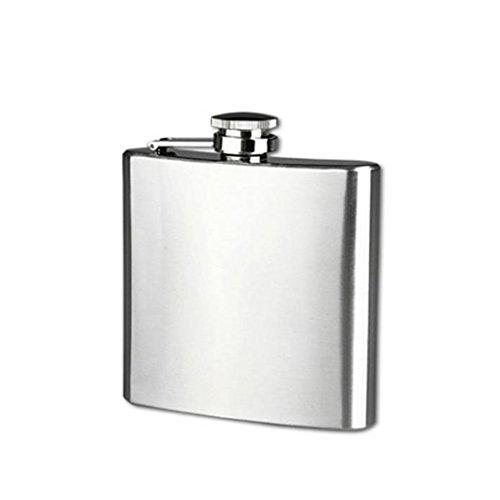Longra Hip acero inoxidable de bolsillo frasco de alcohol del whisky licor Tapón de tuerca + Embudo (Size:6 oz)