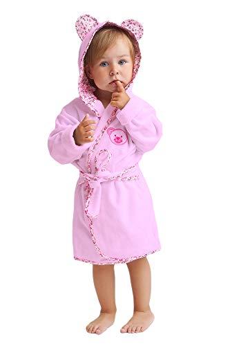 LEVERIE niedlicher Kinder-Bademantel für Jungen und Mädchen, Made in EU, Rosa Teddy, Gr. 110 (Frottee-bademäntel Für Kinder)
