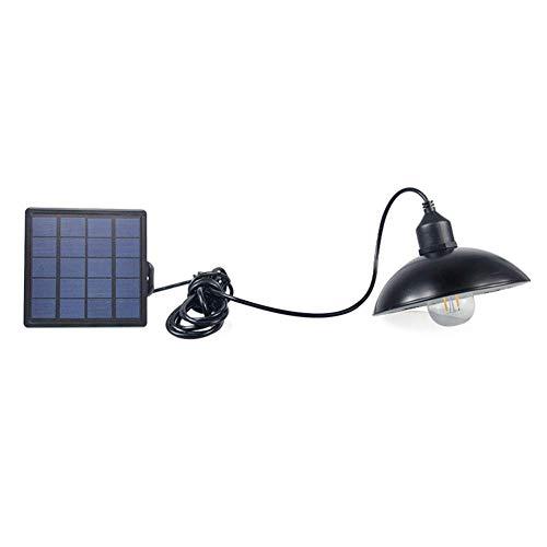 szdc88 Hof Solar LED Straße Licht, Klassisch Wandbehang Metall Käfig Außen Solar Kronleuchter mit Solar Panel für Garten Garten Terrasse Haus - Schwarz A1, Free Size -
