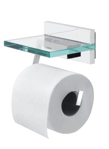 feuchttuchspender Tiger Safira Toilettenpapierhalter mit praktischer Glas-Ablage, chrom