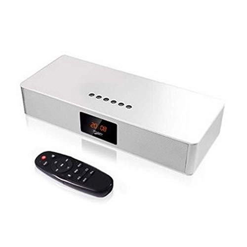 YQ Aluminiumlegierung + Acryl Inlay 4,0 Bluetooth Lautsprecher tragbare Subwoofer Handy Audio Auto Lautsprecher LED-Anzeige mit drahtloser Fernbedienung,White