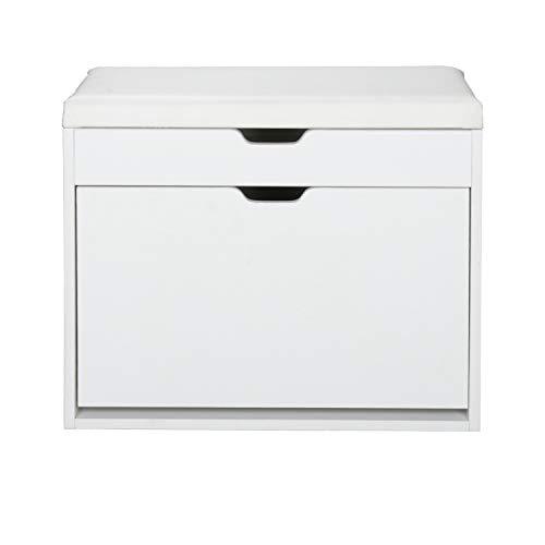Wolketon Banco de Armario 3 compartimentos estante blanco Ajustable Estanterías para Mujer Hombre Zapatería...