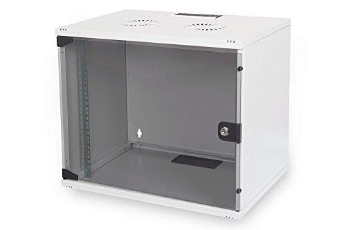 DIGITUS Netzwerk-Schrank 19 zoll 9 HE - unmontiert - Wandmontage - 400 mm Tiefe - Traglast 60 kg - Glastür - Grau