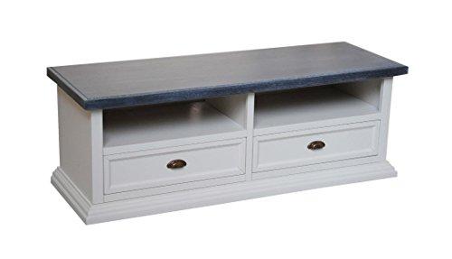 Legno&Design Meuble TV Banc TV 2 tiroirs 2 Compartiments à Jour en Bois Art pauvre
