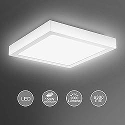 Creyer Modern Square 24W LED Ceiling Lights, Equivalent to 150W Bulbs, Φ30*H3.6cm, 2000LM, AC220-240V, Daylight White 6000K, LED Panel Ceiling lamp for Living Room, Bedroom, Kitchen, Balcony Hallway