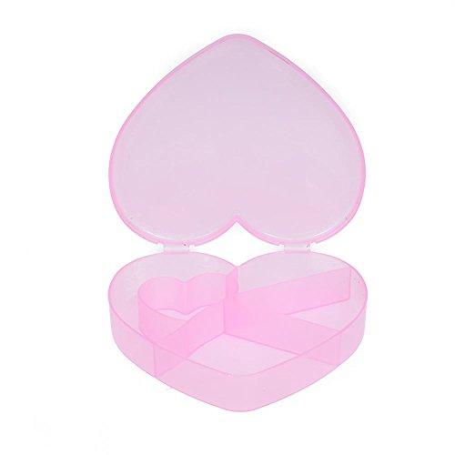 woyiazt 5 Slots Herz Aufbewahrungsbox Kunststoff Home Organizer Schmuck Perlen Boxen (Pink)