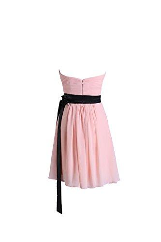 YiYaDawn Kurzes Brautjungfernkleid Abendkleid Partykleid für Damen Altrosa